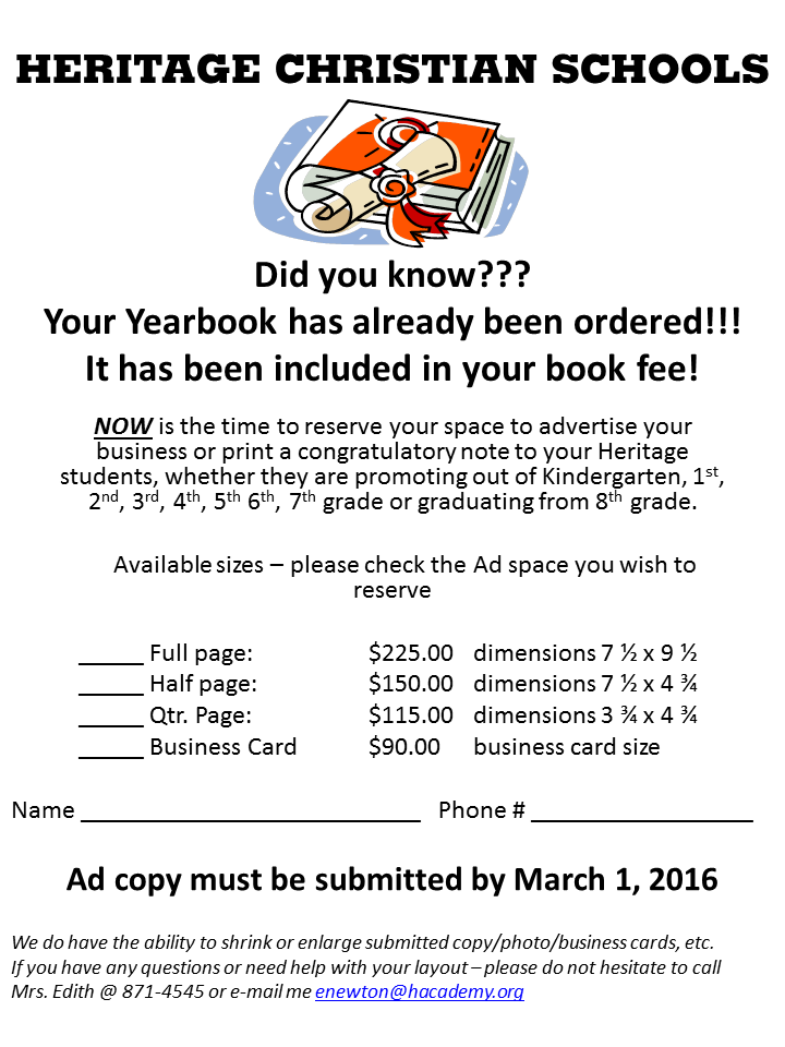 Yearbook Ad Order Form - Heritage Christian School